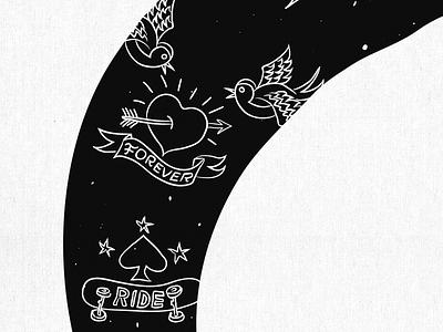 Island of Freedom - Sziget Festival (detail 3) ribbon tattoo hand lettering sziget festival arrow heart love sparrow birds forever skateboard