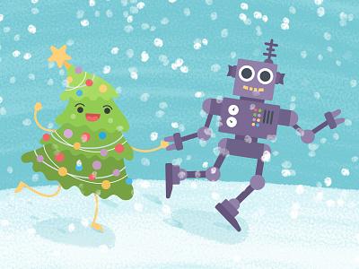 Voov Robot Xmas robot running tree christmas xma greetings card illustration character cartoon