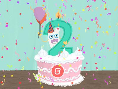 Billingo 2nd birthday cake party mascot illustration cake glasses candle 2nd confetti birthday digital painting character cartoon