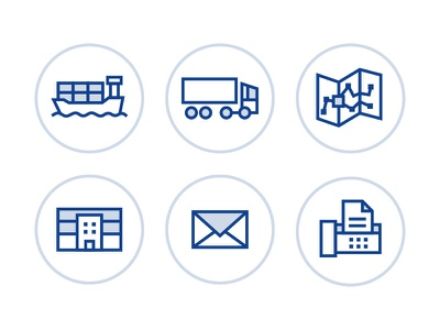 Universal Logistics Icons minimal email fax business building office transport ship truck transportation logistics icons