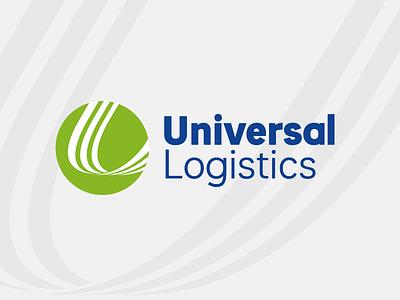 Universal Logistics Logo transportation logistics geometric custom type typography logotype wordmark mark branding logo
