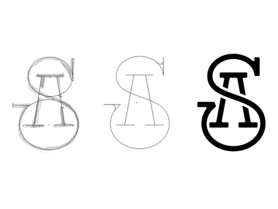 SA monogram logo progress progress process hand drawn elegant business personal custom type typography logotype logo monogram