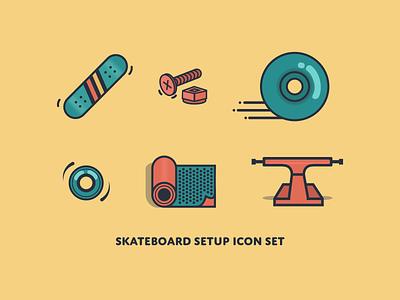 Skateboard Setup truck griptape bearing wheel hardware deck skateboard logo icon illustration vector design