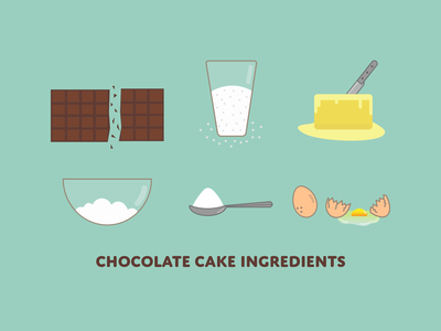 Chocolate Cake Ingredients design sugar egg yeast flour butter yummy food desert logo icon pastry cake chocolate cooking