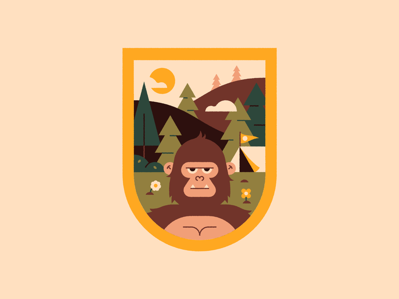 Sasquatch Patch 🌲⛺️👣 vector icon scouts travel camping adventure logo design stream live twitch texture character cute illustration patch badge bigfoot sasquatch