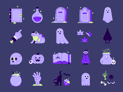Walmart Halloween Packaging Illustrations 👻🎃💀 character grave eyeball hand bone book spell logo ghost seasons shopping package illustration icons deaign cute spooky illustrations packaging