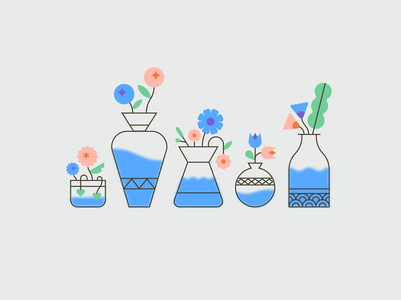Flowers 🌸🌹🌿 vector flat art foliage nature leaves design illustration water vase pot cute plants flowers