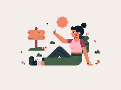 HitchHiking Character 🌸 🦋 🍄 illustration summer design vector flat butterfly bee plants flowers backpacking hiking nature character fun cute