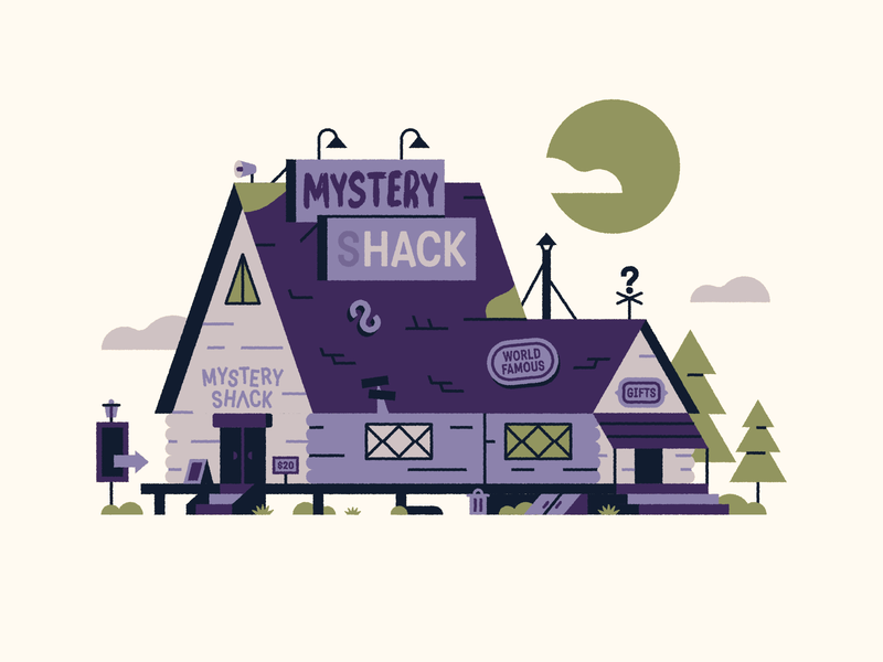 The Mystery Shack 🏡 ✨ art clouds forest gift shop house cabin mystery shack disney gravity falls vector fun design cute illustration
