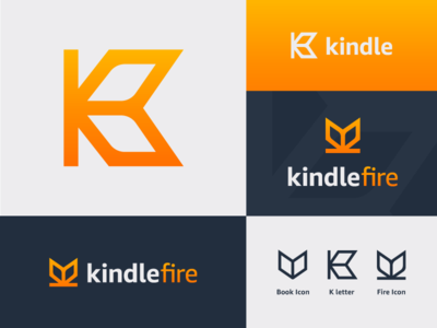 Amazon Kindle Rebrand Logo rebrand logo grid gradient identity type wordmark amazon kindle k letter fire book mark design icon branding logo