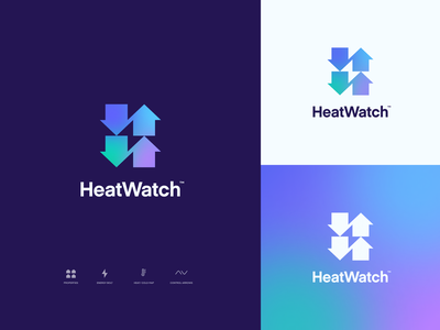 Heatwatch Logo energy bolt blur gradient app ui vector arrow brand cold heat property building temperature control heating icon design logo branding