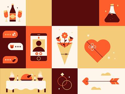Valentine's Animation 💐💌💍 video animated happy celebration potion birds holiday fun icon design cupid flowers illustration flat vector cute animation love