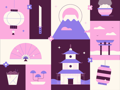 Japan Animation ⚔️🌁🌸 flower rice japanese samurai clouds noodles fuji mountain sword vector fun cute grid illustration animation japan
