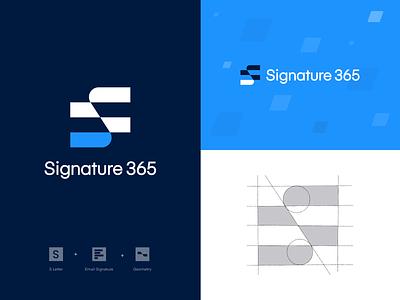 Signature 365 Logo signature email s letter typography icon logo design pattern vector custom logotype brand identity design sketch branding