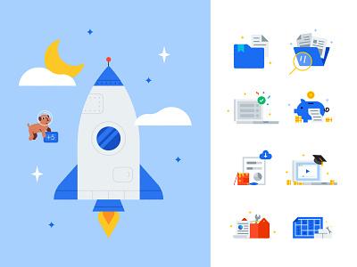 Service Titan Spot Illustrations coins flat vector character design illustration service folder illustrations space spot icons dog cute rocket