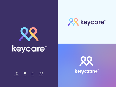 Keycare™ Branding people care brand mark typography type connection vector identity icon gradient heart person patient cancer health design logo branding