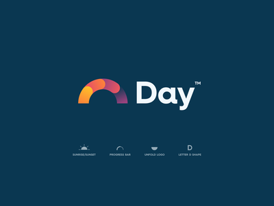 Day App Logo daily design logo unfold type gradient colors modern branding progress tool management d letter graph bar sunrise sun planning app day