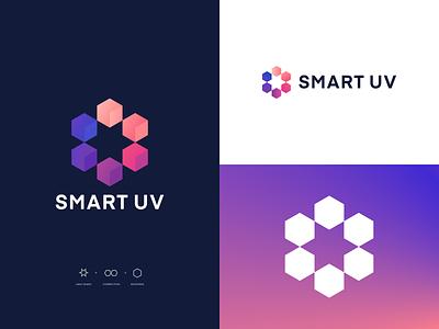 Smart UV Logo typography identity cleaning neon lighting 3d gradient icon design logo branding packaging building isometric blocks cube shapes star uv light