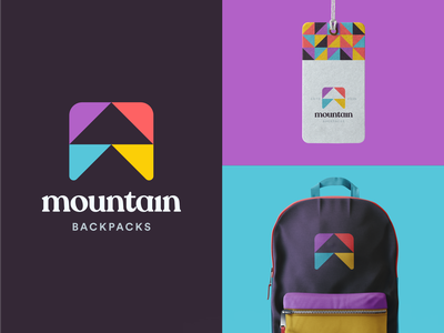 Mountain Backpacks Logo bag abstract tag design icon logo identity geometric type shapes color mountains product wild nature pattern material clothing branding backpack
