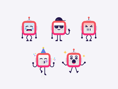 Robot Emotes 🤖 cute emoticon icons design gaming streaming twitch robot emoji emotes illustration