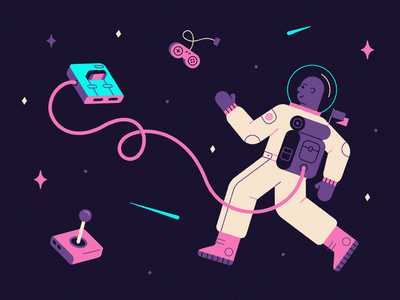 Arcade Astronaut 🕹👩🚀✨ design vector game stars nintendo arcade gaming texture illustration cute astronaut space