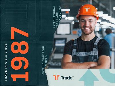 Trade Poster Designs identity design logo packaging cargo mockup billboard vintage arrows trading t logo brand branding retro trade poster industrial