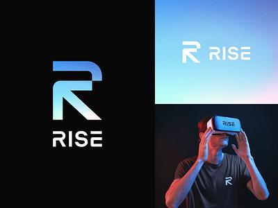 Rise Logo ↖ icon wordmark typeface custom rise game r letter arrow branding headset vr design logo gaming