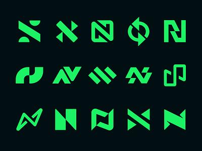 N Logos collection social digital tech geometric split switch energy bolt identity clever simple mark icon branding design logo letter n logos