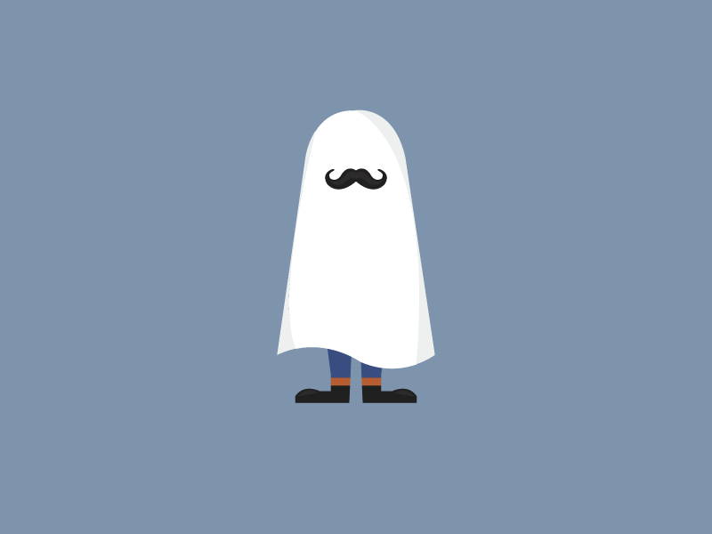 Ghostache halloween logo illustration movember playoff debut shot spooky character moustache ghost rebound