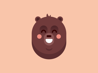 Grizzly Bear smile emoticon emoji head cute icon flat illustration character bear grizzly
