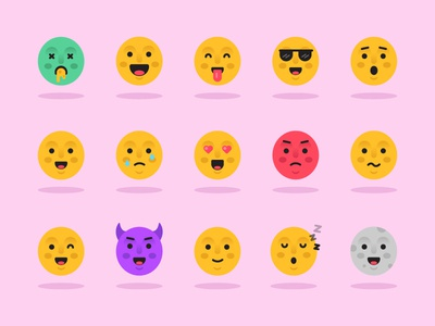 Emoji Pack style illustration colour reactions fun avatars smile icons character emoticon emoji