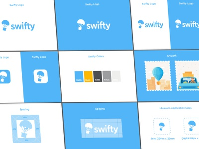 Swifty Branding style guide guide style icon parachute mark colors brand design logo illustration brand guidelines branding