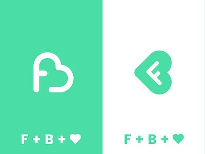 F + B + <3 heart b app f icon type mark brand identity shot fb branding logo