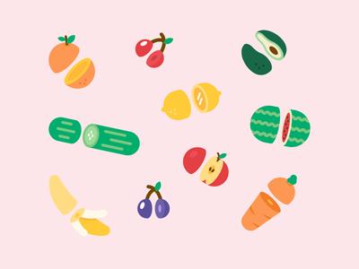 Sliced Fruit and Veg avocado cut cherry debut apple orange banana icons illustration vegetables fruit sliced