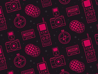 Stranger Things 80s retro scifi tape compas eggos camera logos icon pattern netflix stranger things