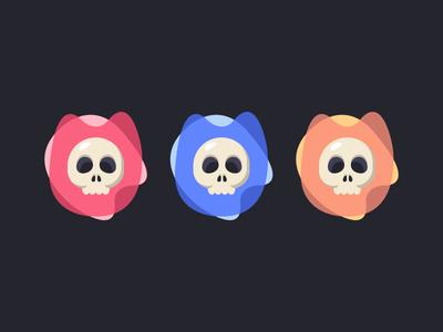 Skulls brand icon channel youtube gaming skull colour flat illustration branding logo skulls