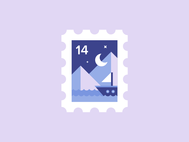 Stamp ⛵ cute moon sea card icon illustration sky night ship sail boat stamp