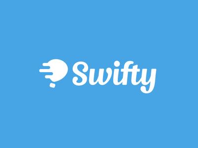 Swifty Logo hot air balloon cute type script balloon illustration icon identity brand branding logo swifty