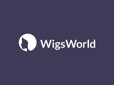 WigsWorld  head girl beauty hair logos concept final icon world logo wig branding