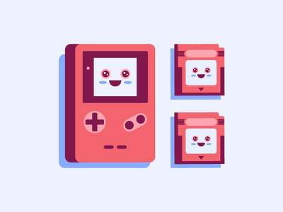 Kawaii Gameboy mario pokemon character fun cute illustration retro gaming nintendo gameboy