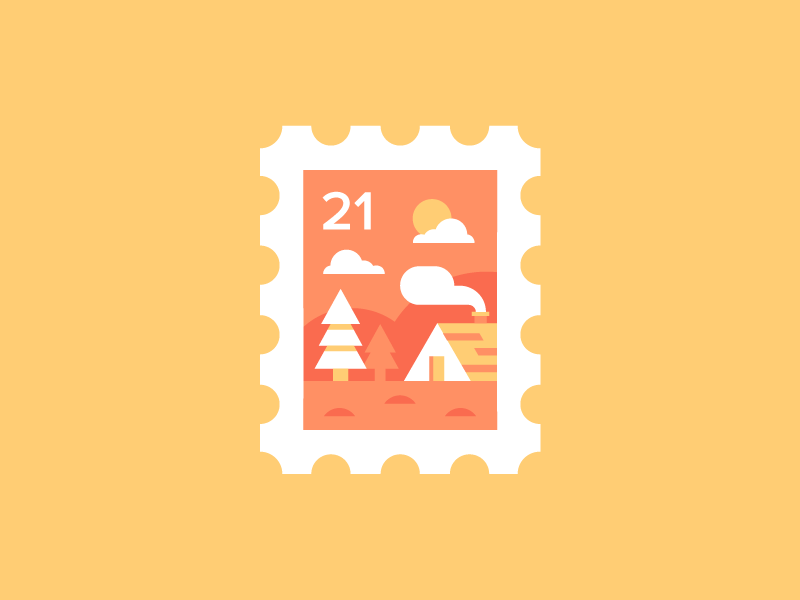 Stamp 🏡 flat icon colour layout adventure mountain smoke trees forest cabin illustration stamp