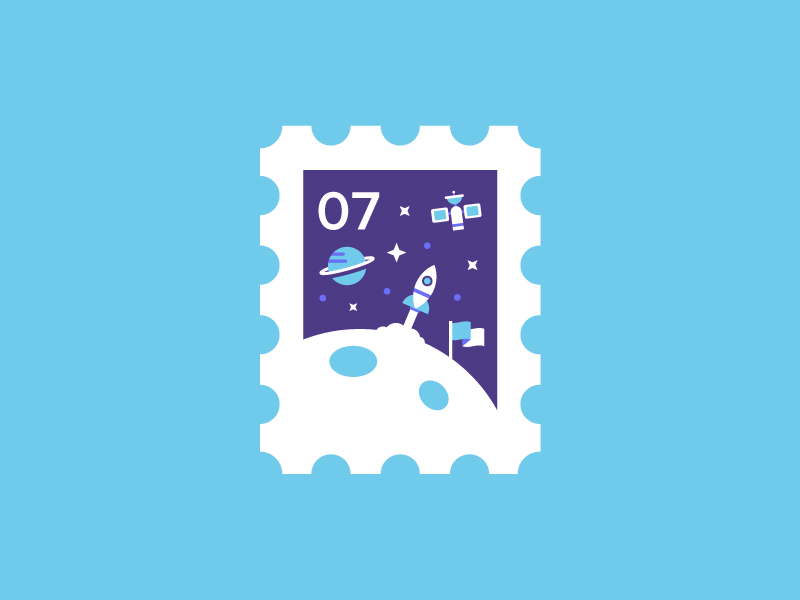 Stamp 🚀 cute stars colour logo icon flag moon planet rocket space stamp illustration