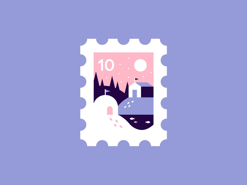 Stamp ❄️️ cute igloo icon forest trees flag fish ice snow cabin illustration stamp
