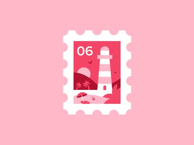 Stamp 🌴 logo sun palm tree sand beach lighthouse icon stamp pink illustration