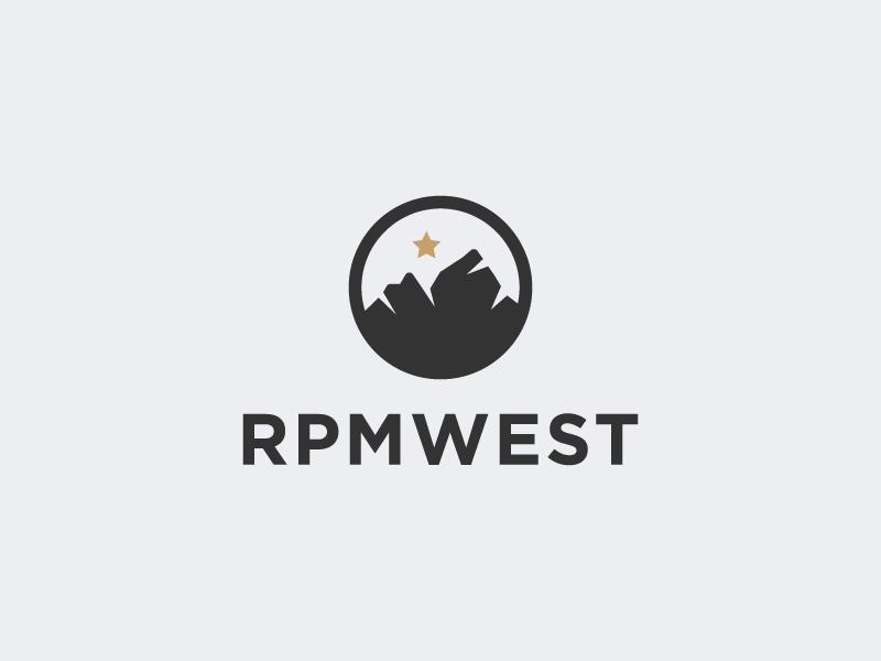 RPMWEST branding abstract monogram star clothing apparel california icon adventure travel mountain logo