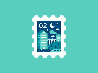 Stamp 🚝 bridge colour layout adventure smoke trees buildings underground city train illustration stamp