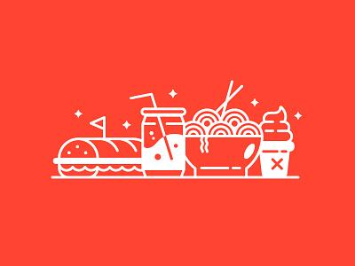 I love food 🍦🍜🥖 baguette pop soda junk cute icons sandwich drink ice cream ramen illustration food