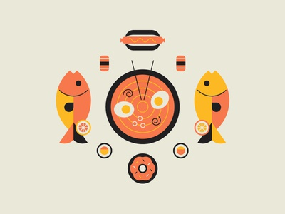 More Food 🍩 🍣 🍥 junk cute flat icon sushi ramen donut hot dog style fish illustration food