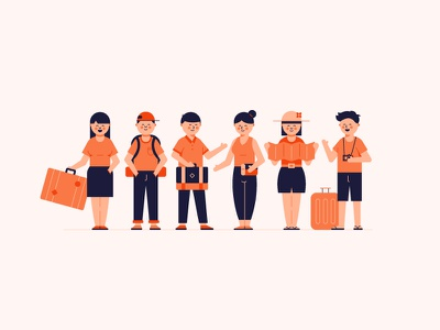 Travelling Characters character explorers backpacking map animation icons bag travelling travel cute illustration characters