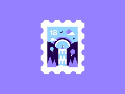 Stamp 🌈 icon forest trees scene mountain hot air balloon illustration cute waterfall boat rainbow stamp